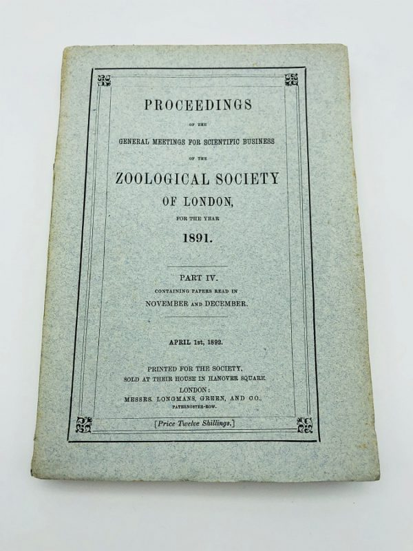 Proceedings of the Scientific Meetings of the Zoological society of London – 1891
