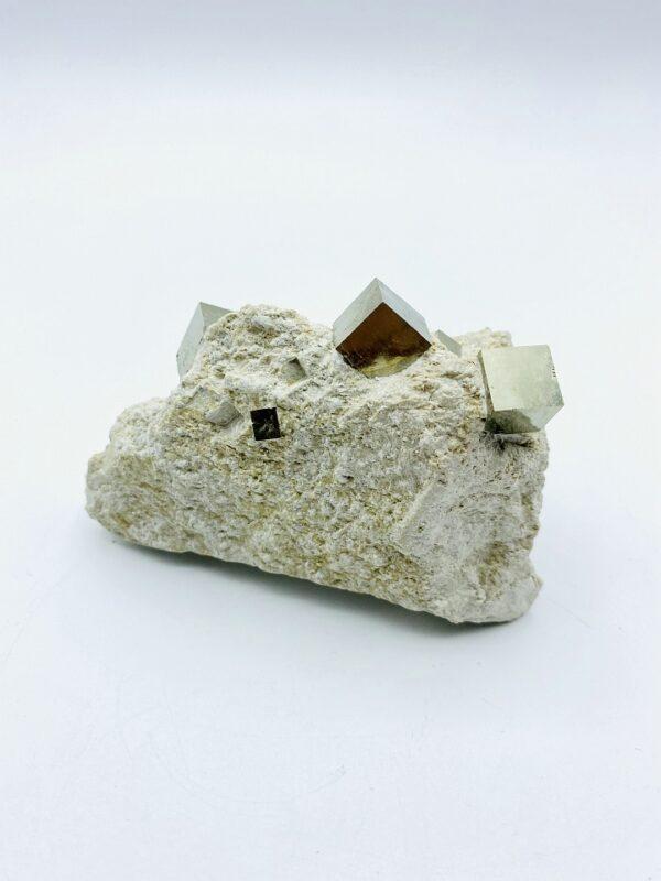 Small Pyrite on matrix with several cubes, Navajun, Spain