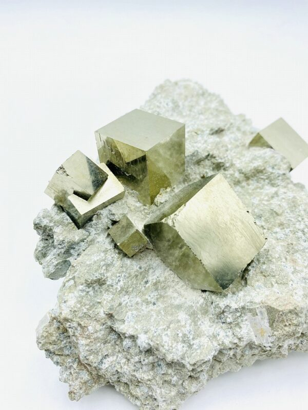 Pyrite on matrix with several cubes and cluster from Navajun, Spain