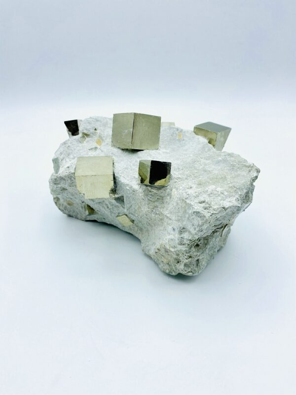 Nice decorative Pyrite on matrix with several cubes from Navajun, Spain