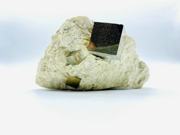 Medium Pyrite on matrix with 4 cubes, Navajun, Spain