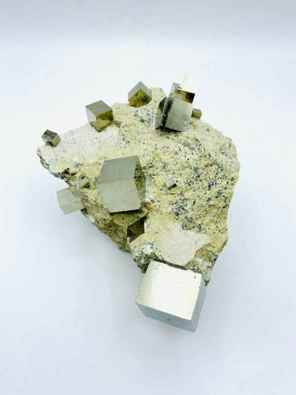 Exceptional Pyrite on matrix with several cubes, Navajun, Spain