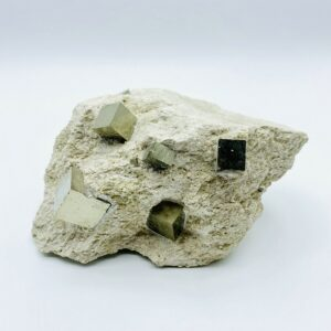 Pyrite on matrix with 11 cubes, Navajun, Spain