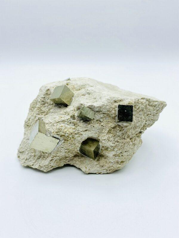 Pyrite on matrix with 11 cubes, Navajun, Spain