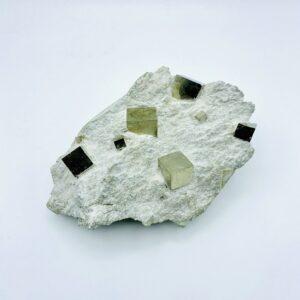 Massive Pyrite on matrix with 12 cubes, Navajun, Spain