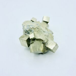 Fantastic Pyrite on matrix including 6 cubes, Navajun, Spain