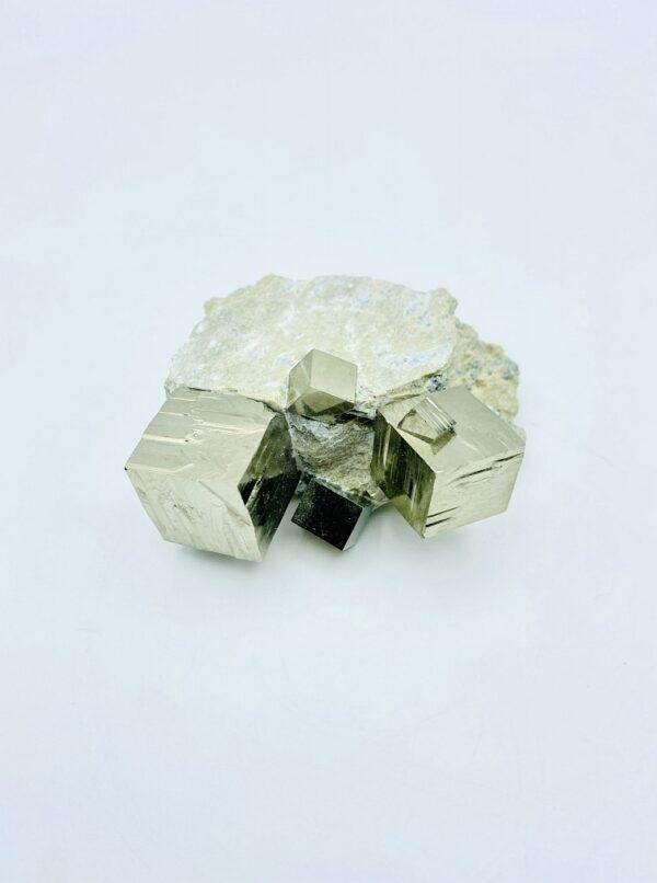 Nice small Pyrite matrix including 5 cubes, Navajun, Spain