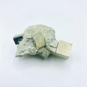 Pyrite on matrix including 4 cubes, Navajun, Spain