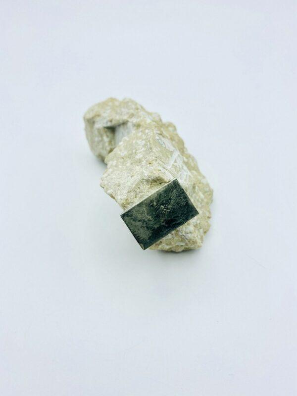 Single rectangular Pyrite crystal on matrix, Navajun, Spain