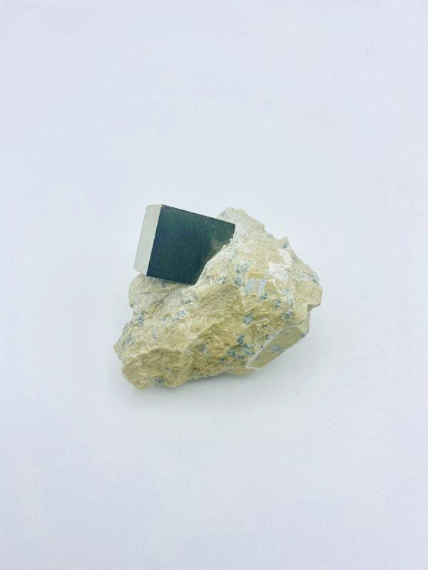 Small Pyrite matrix with single crystal, Navajun, Spain