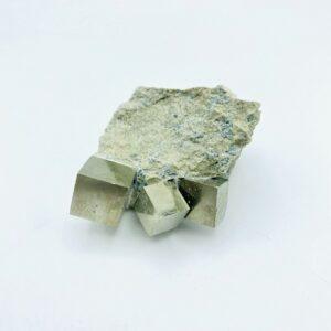 Pyrite matrix with 3 crystals, Navajun, Spain
